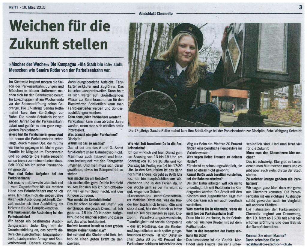 Sandra Rothe im Amtsblatt 11_2015